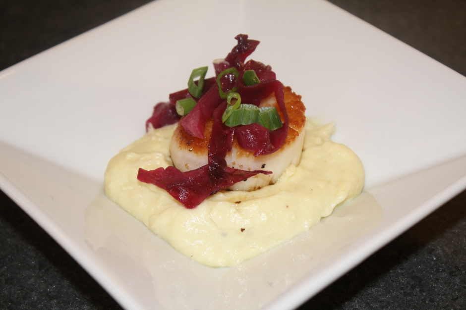 seared scallops with braised cabbage and parsnip puree